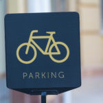 Bicycle parking sign close-up. Signs and symbols